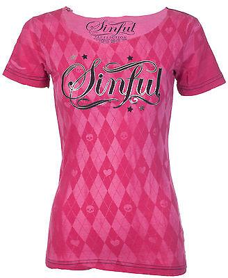 Sinful AFFLICTION Womens T-Shirt ARGYLE Tattoo Biker UFC BKE Buckle XS-L $38 b
