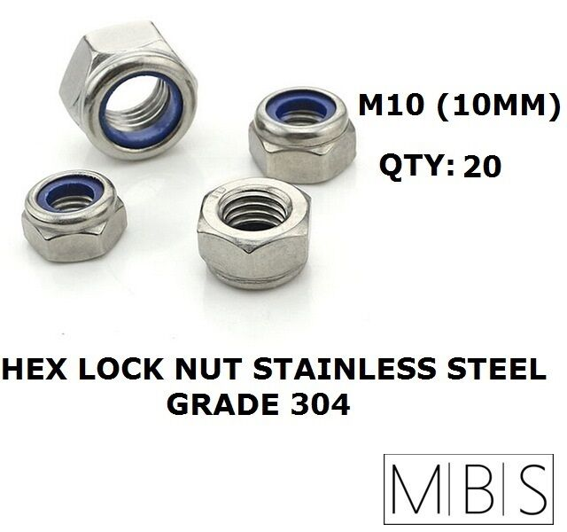 10MM ST//STEEL NYLOC NUT COMPLETE WITH ST//STEEL FLAT WASHER VARIOUS QTY/'S M10