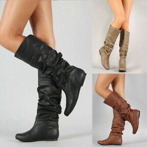 Flat-Round-Womens-High-Mid-Toe-Shoes-Plain-Casual-Heel-Calf-Boots-Knee-Slouch