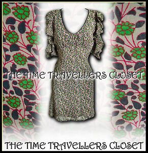 1940S COTTON PALE green labelled  dress uk 10