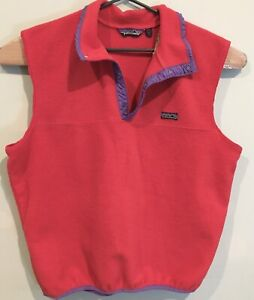 Patagonia Vintage Made In USA Pullover Fleece Cut Sleeve Vest Red Purple Size L