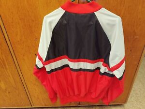 Vtg ADIDAS BLACK RED SILVER SIZE LARGE ZIP-UP WINDBREAKER JACKET 80s