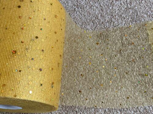 9m of 150mm Wide Soft Nylon Gold Glitter Spot Tulle Net Wedding//Tutu//Craft