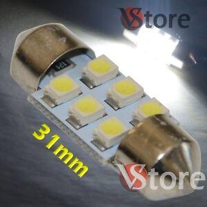 2-LED-Siluro-31mm-6-SMD-BIANCO-Lampade-Luci-Xenon-Lampadine-Interno-Targa