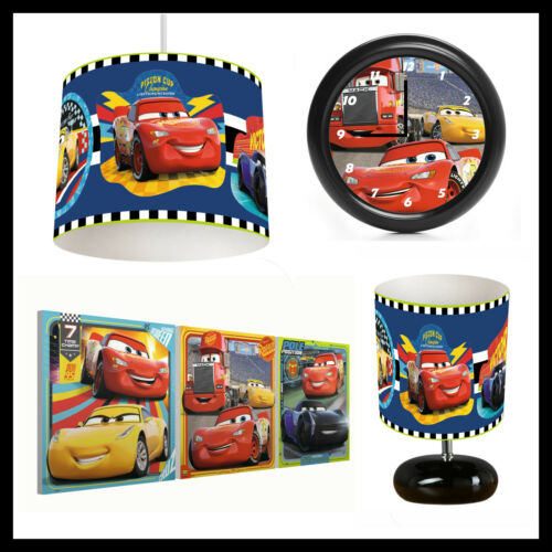 DISNEY CARS (053) - Boys Bedroom - Lampshade, Lamp, Clock & Pictures