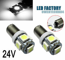 4X Ba9s W6W T4W Bright White 5SMD Car LED License Plate Map Dome Light 24V #OBH