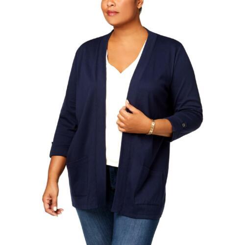 Karen Scott Womens Navy Cuffed 3//4 Sleeves Cardigan Top Jacket Plus 3X BHFO 3758