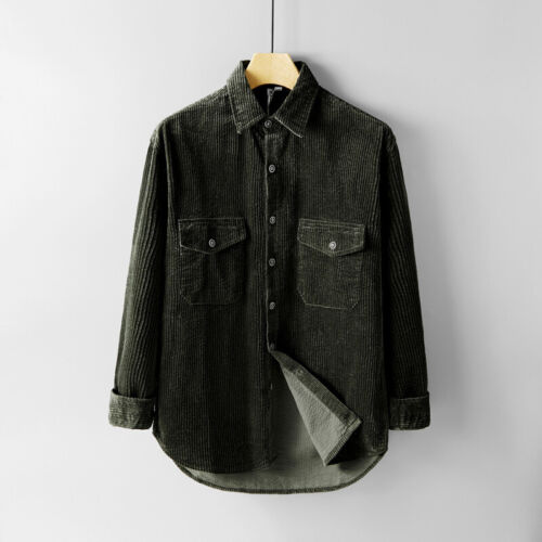 Mens Corduroy Shirts Long Sleeve Thick Cord Jackets Retro Collared Tops Casual