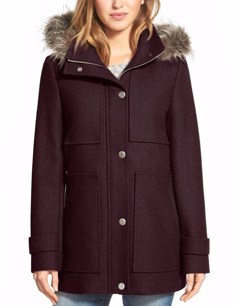 Kenneth Cole Rum Raisin Wool Blend Duffle Coat w Detachable Fur Trim Hood  240