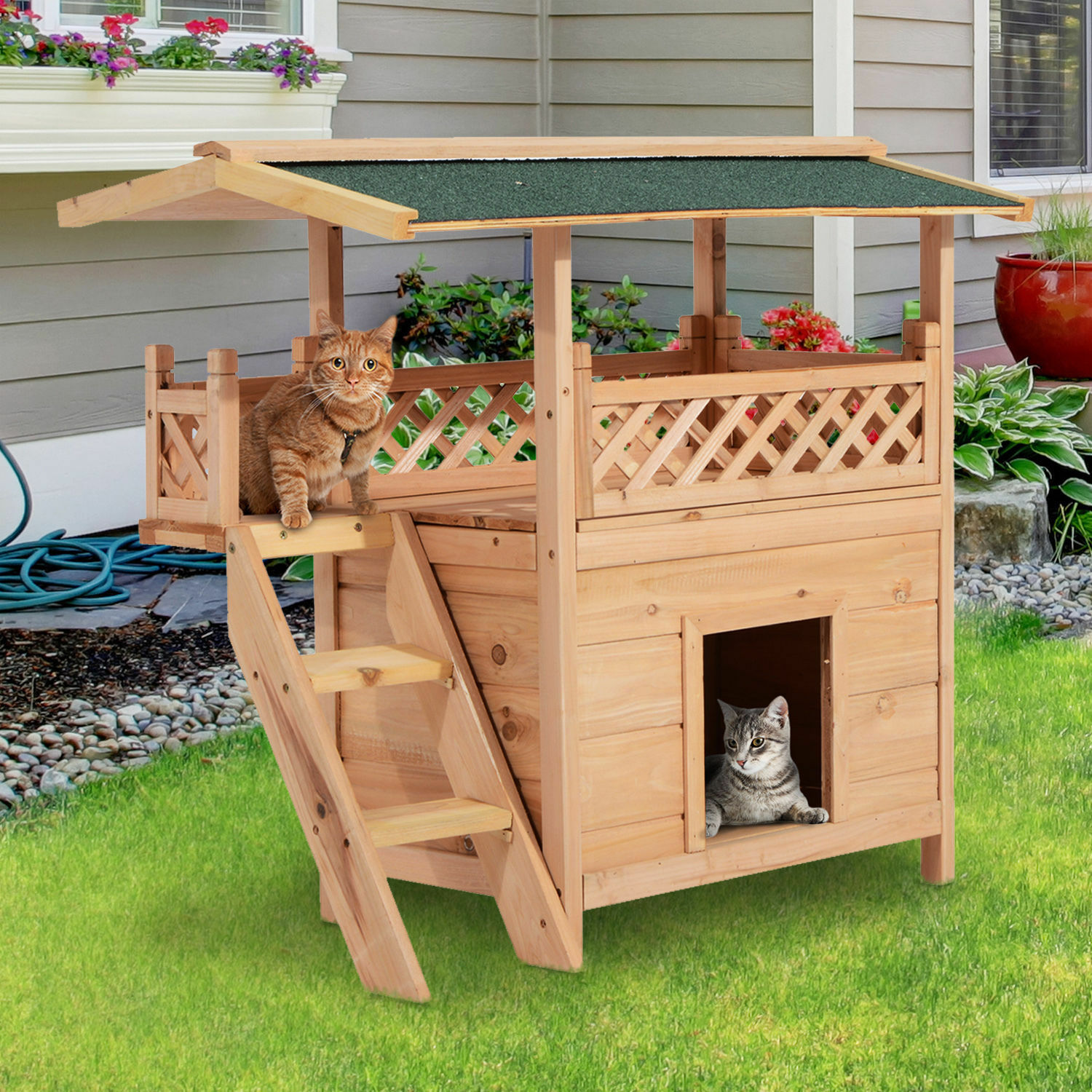 Wood Indoor Dog House Puppy Shelter Outdoor Cat Bed Room W Roof Balcony Stairs For Sale Online Ebay