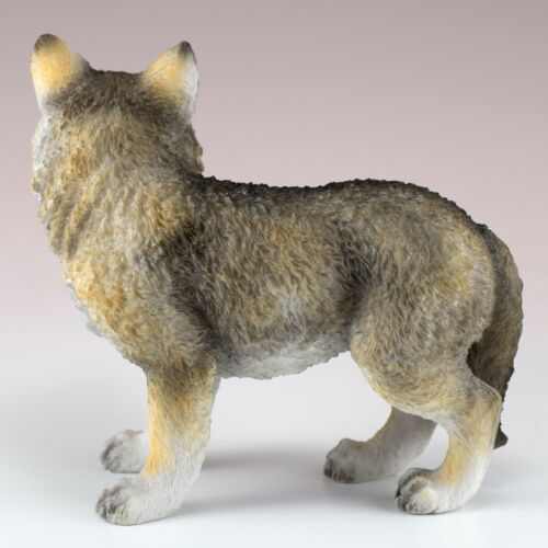 """Standing Wolf Cub Pup Figurine 4.25/"""" High Detailed Polystone New In Box"""