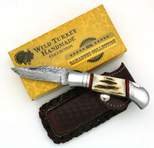 """Wild Turkey Handmade Damascus Collection Stag Horn Folding Knife 8"""" Overall"""