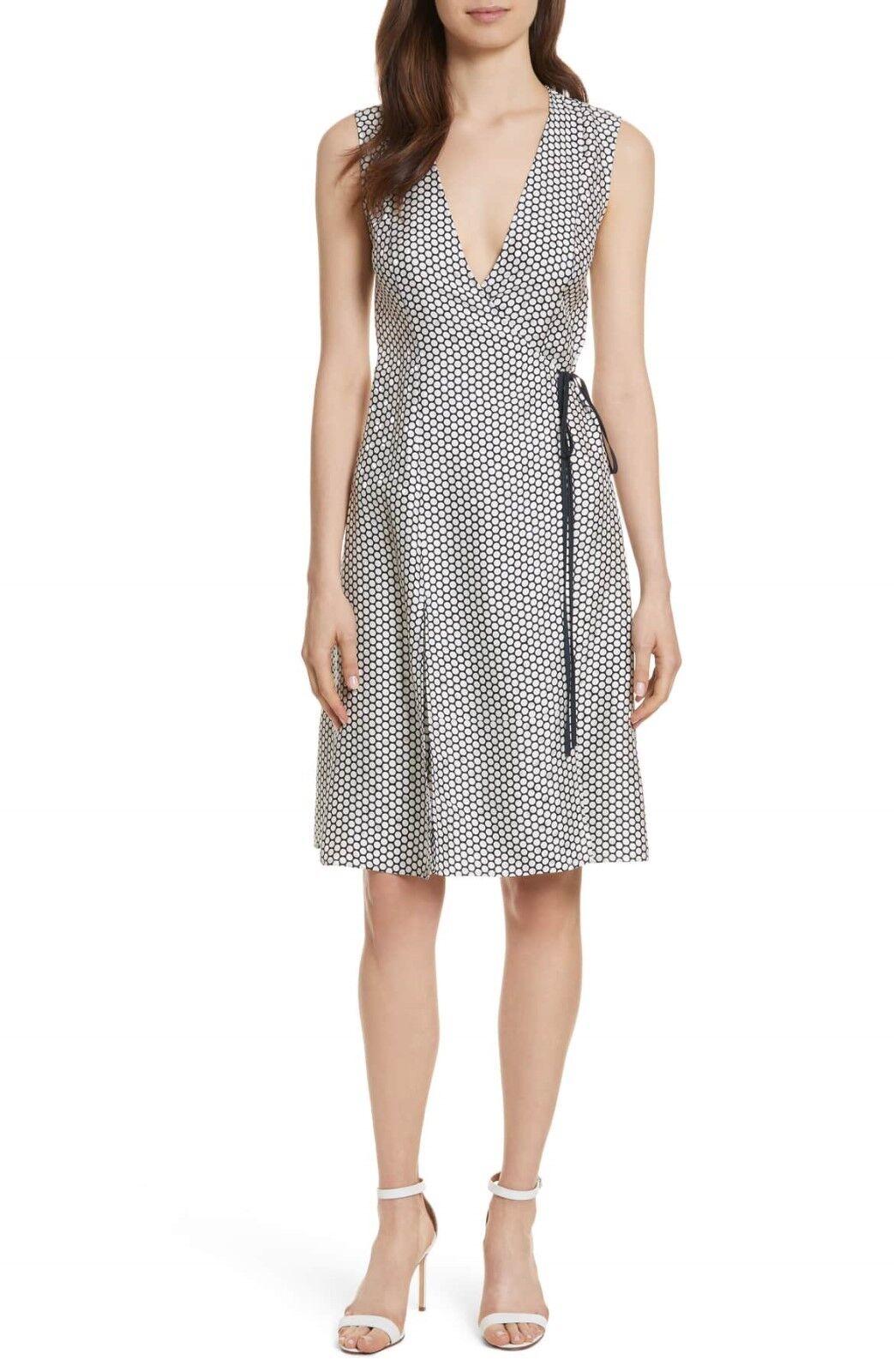 NEW Diane von Furstenberg Side Tie Silk Fit & Flare Dress in Weiß Navy - 8