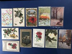 11-Glitter-amp-Beaded-Antique-Christmas-Postcards-1900s-For-Collectors-w-Value