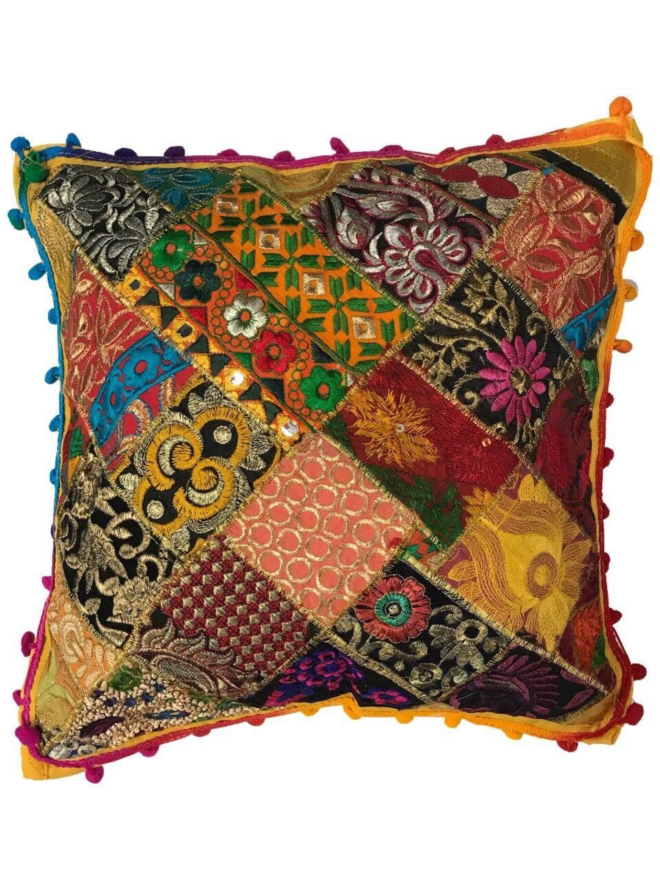 Cuscini Indiani Vendita On Line.Indiano Patchwork Gujarati Mandala Sari Etnico Federe Per Cuscini
