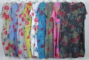 New-Ladies-Floral-Italian-Lagenlook-Panel-Insert-Scoop-Neck-Pocket-Linen-Dress