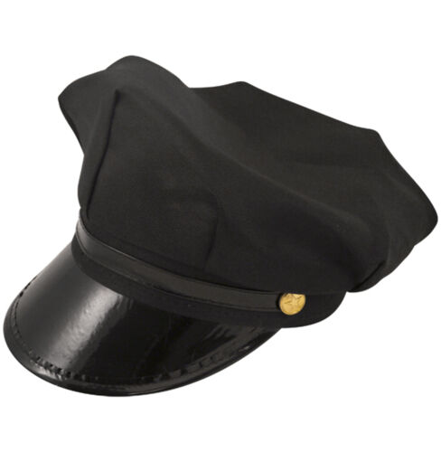 MEN/'S BLACK CHAUFFEUR HAT TIE GLOVES LIMO DRIVER FANCY DRESS COSTUME ACCESSORY