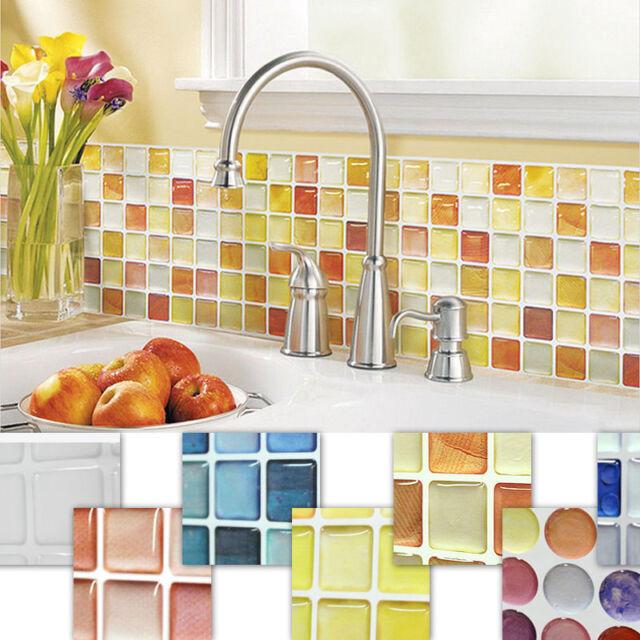Home Decor Mosaic Tile Bathroom Kitchen Removable 3D Wallpaper Foil Sticker DIY