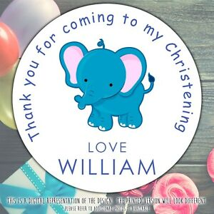 Personalised-Blue-Elephant-Christening-round-stickers-labels-party-cone-sheet
