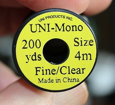 Fly Tying Uni Monofilament Colourless very fine and invisible 200 yds