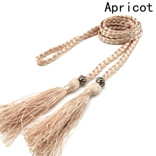 Chic Women Ladies Braided Belt Cotton Tassel Self-Tie Thin Waist Rope Belt