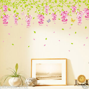 Pink-Vine-Flowers-amp-Butterfly-Removable-Wall-Sticker-Kids-Girls-Room