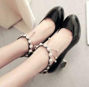 Womens Round Toe Ankle Strap Pumps Pearl Mary Janes Lolita Shoes Heels All Size