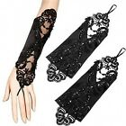 Women's Accessory Party Wedding Satin Lace Fingerless Bridal Gloves Yellow/Black