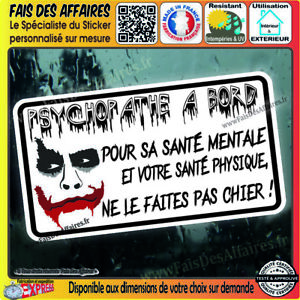 Sticker-Autocollant-psychopathe-a-bord-JOKER-evil-Horreur-decal-harley-quinn