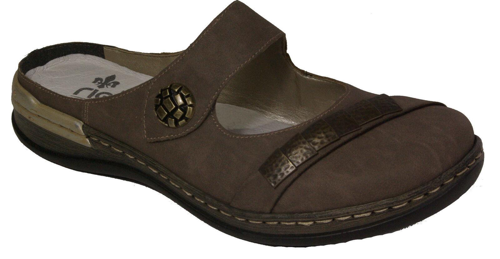 Rieker alla Marrone moda sandali sandali sandali Clogs Grigio Marrone alla Chiusura ... 0f6fe2