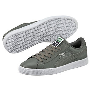 New PUMA Basket Classic Textured Men s Casual Shoes Sneakers Asparagus 360191 03