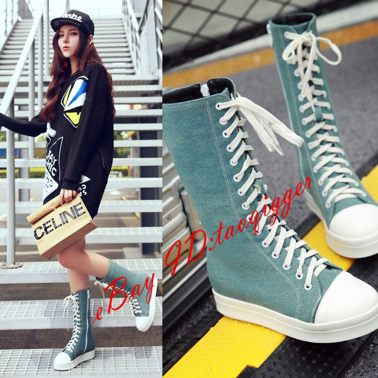 Women Comfy Lace-up Mid-calf Boots Casual Flats Canvas shoes Sports shoes Size 9