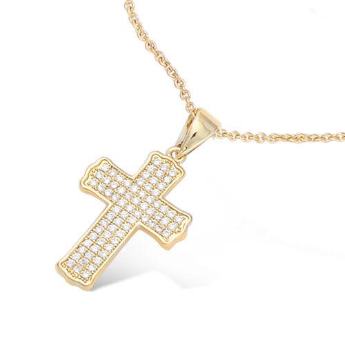 Collier 45cm Croix Pavage de Diamant Cz 27mm Plaqué Or 18K 3Microns Dolly-Bijoux