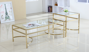 Coffee-Table-Glass-Top-with-Stainless-Steel-Gold-Base-Brand-New
