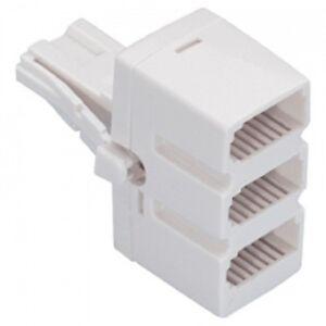 BT-Triple-telephone-Phone-socket-3-way-splitter-plug-low-profile-white-quality