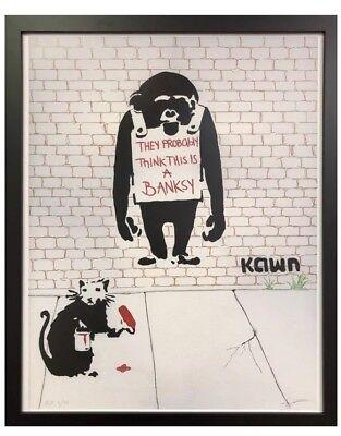 Banksy Gangsta Rat Graffiti Street Art 12X16 Inch Framed Art Print