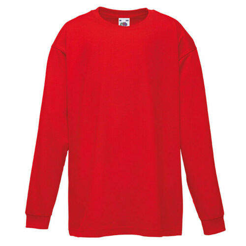 FRUIT Of The Loom Bambini Manica Lunga T Camicie Per Ragazzi /& Ragazze Scuola TEE SHIRT
