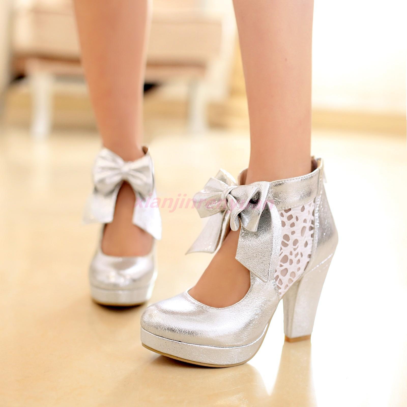 Chic Lolita Womens Dress Bowknot Platform Platform Bowknot Vintage Court High Heels Block Shoes 032de2