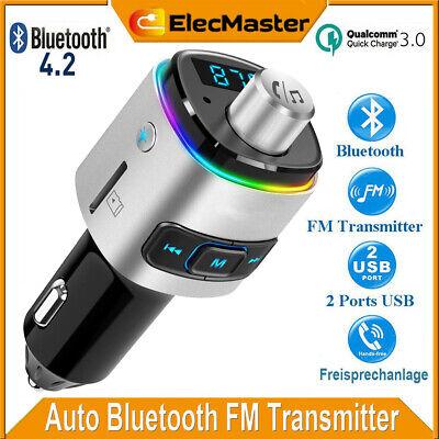 Auto Bluetooth 4.2 FM Transmitter QC3.0 KFZ USB Ladegerät Adapter mit 7 Farbe DE