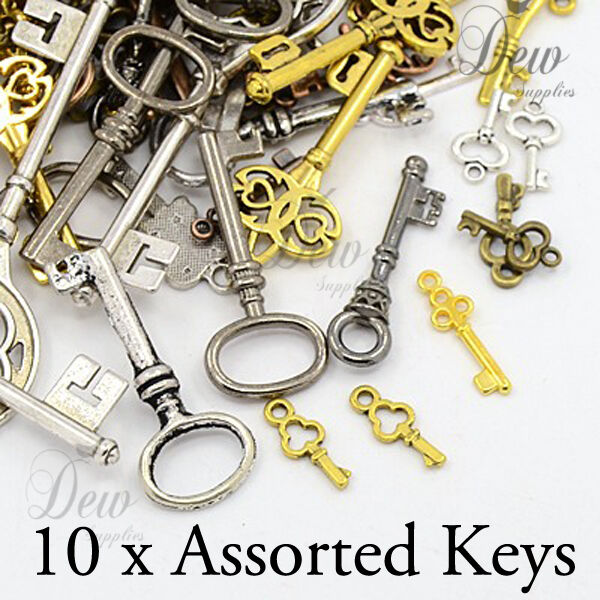 10 assorted key pendant charms mixed vintage style gold silver bronze copper