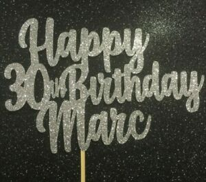 Custom-30th-Birthday-Cake-Topper-Silver-Glitter-Any-Name-Word-Personalised