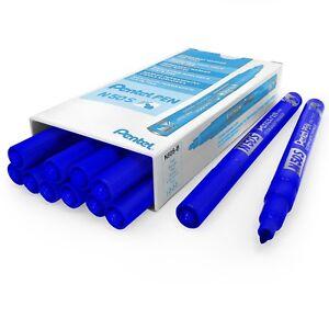 Pentel-N50S-Fin-Marqueur-Permanent-3-18mm-Balle-Pointe-Pack-de-12-Bleu