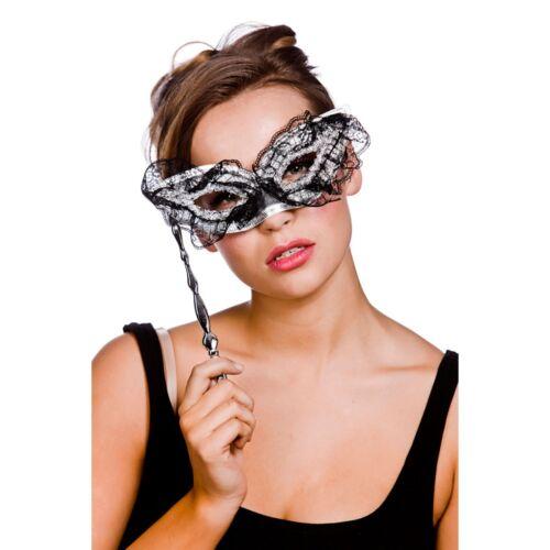 Black /& Silver Dentelle Masque Avec Poignée Taille Unique pour Femme accessoire robe fantaisie