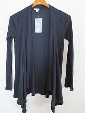 XS  Splendid Black Light Weight Drape Open Front Cardigan Ribbed (6194)
