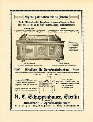 Collectibles Advertising Industrious Furniture & Talking Machines Schuppenhauer Szczecin Xl 1924 Ad Stettin