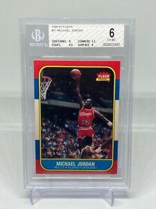 1986-87 Fleer Michael Jordan Rookie Basketball Card #57 BGS 6 EX-MT Bulls RC HOF
