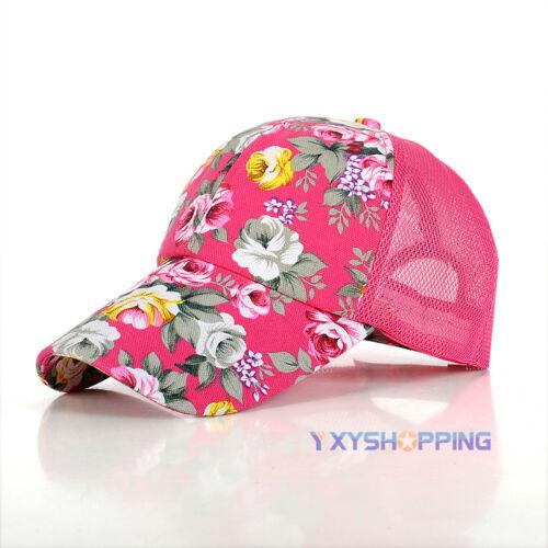 Damen Blumen Hut Mesh Cap Basecap Baseball Sommer Sport Mütze Kappe Strand Neu