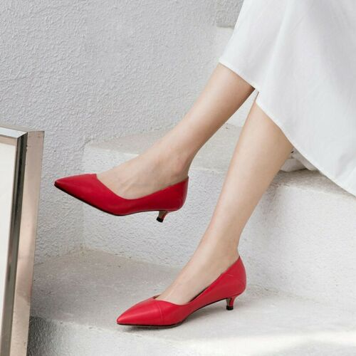 Details about  /Ladies Metal Buckle Decor Office Work Pumps Womens Kitten Pointed Toe Shoes Size