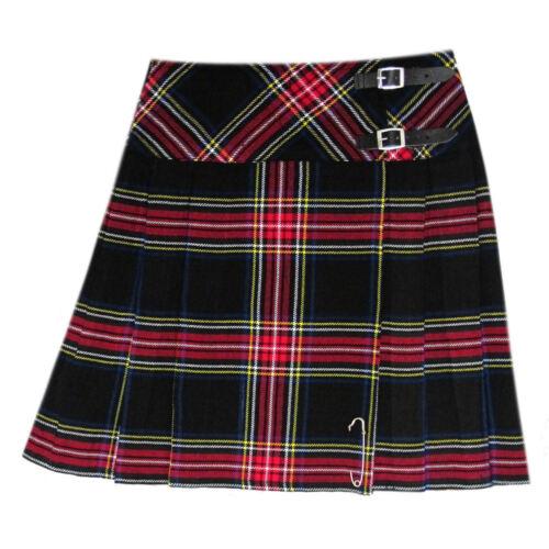 Kilt pin Scottish Ladies Mini Black Stewart Tartan Kilt//Women Skirt 16/'/' long