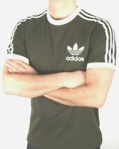 Adidas-Originals-Men-039-s-Trefoil-California-Tees-Crew-Neck-T-Shirt-Khaki-White